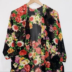 Viamor Floral Open Front Kimono